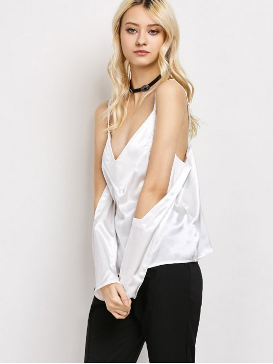 Cold Shoulder Satin Cami Top - WHITE L Mobile