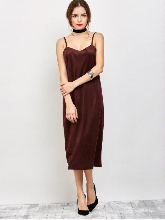 Faux Suede Slip Dress - BURGUNDY M Mobile
