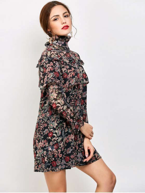 Long Sleeve Tiny Floral Ruffles Dress - FLORAL S Mobile