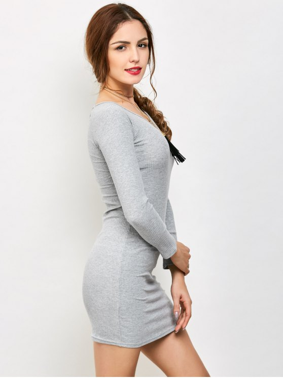 Strappy Long Sleeve Ribbed Sweater Dress - GRAY L Mobile