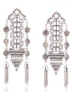 Chain Tassel Rhinestone Hollow Out Earrings - Silver