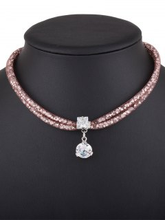 Rhinestone Mesh Pendant Necklace - Rose Gold