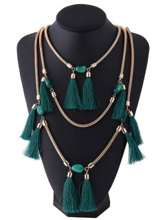 Multilayer Tassel Pendant Necklace - Deep Green