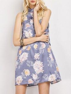 Sleeveless Flower Swing Dress - Floral M