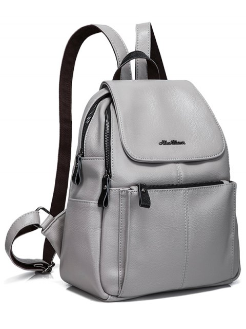 shops Faux Leather Zippers Pockets Backpack - GRAY  Mobile