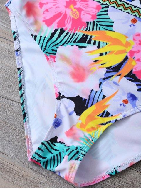 shops Tropical Print Mesh Insert Plunge Swimwear - FLORAL L Mobile