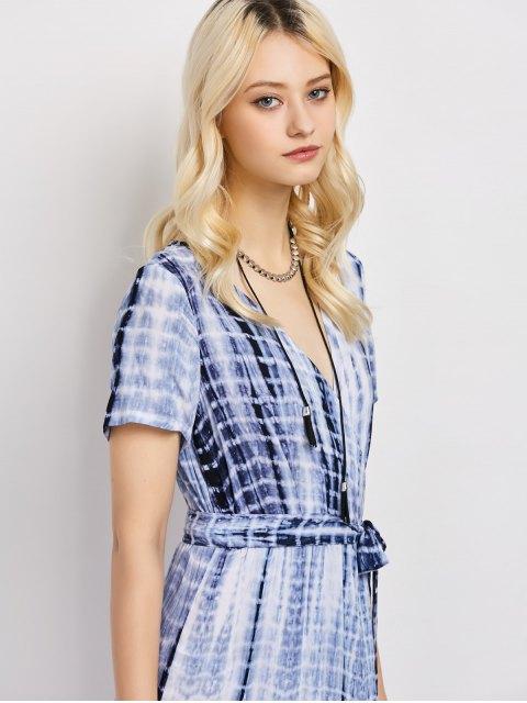 fashion Tie-Dyed Short Sleeve Surplice Maxi Dress - DEEP BLUE L Mobile