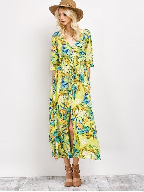hot Plunge Neck Bohemian Tropical Floral Maxi Dress - FLORAL 2XL Mobile
