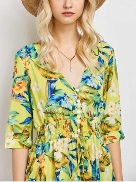 outfits Plunge Neck Bohemian Tropical Floral Maxi Dress - FLORAL L Mobile