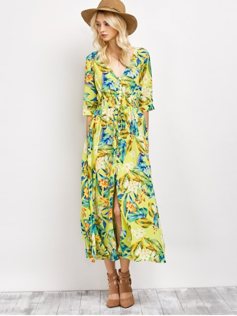 shops Plunge Neck Bohemian Tropical Floral Maxi Dress - FLORAL S Mobile