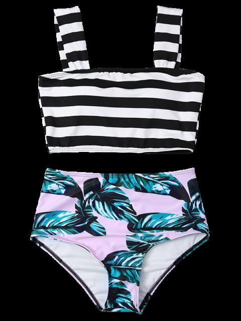 hot Tropical Print Striped Bikini Set - COLORMIX M Mobile