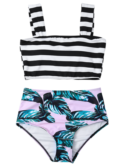 outfit Tropical Print Striped Bikini Set - COLORMIX S Mobile
