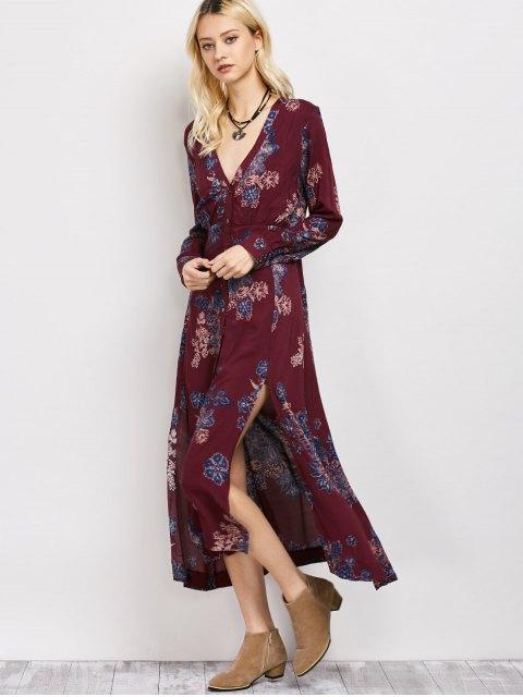 latest Vintage Loose Floral Dress - WINE RED M Mobile