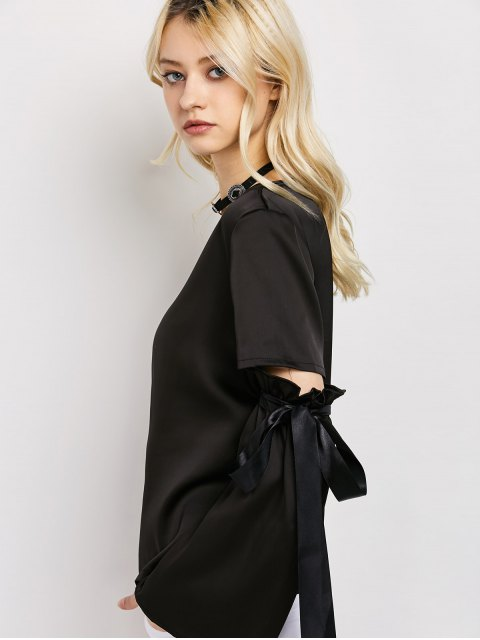 fancy Tied Round Neck Cut Out Top - BLACK L Mobile