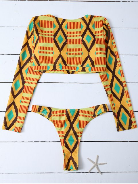 outfits Printed Long Sleeve Bathing Suit - MULTICOLOR M Mobile