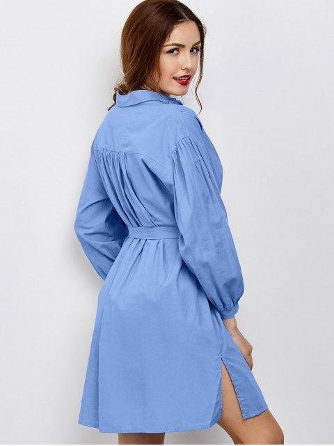 unique Slit Bowknot Shirt Dress - BLUE XL Mobile
