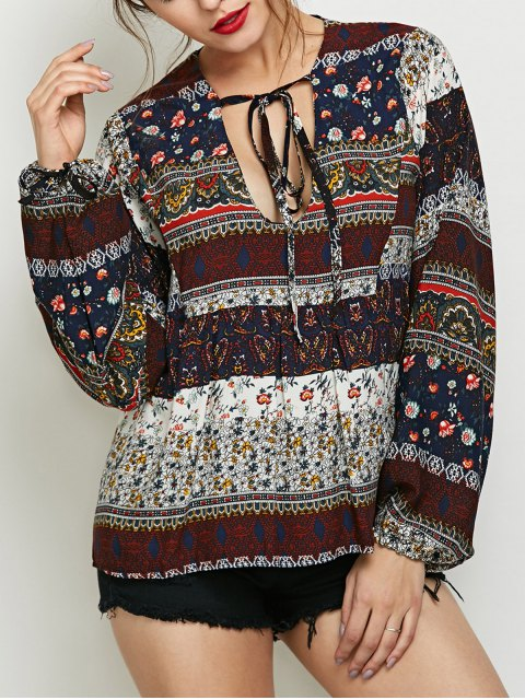 hot Printed Bubble Sleeve Peasant Top - MULTICOLOR M Mobile