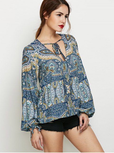 outfits Bubble Sleeve Boho Top - COLORMIX XL Mobile