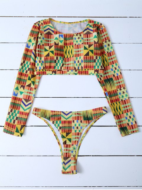 new Cropped High Cut Rashguard Bikini Set - MULTICOLOR M Mobile