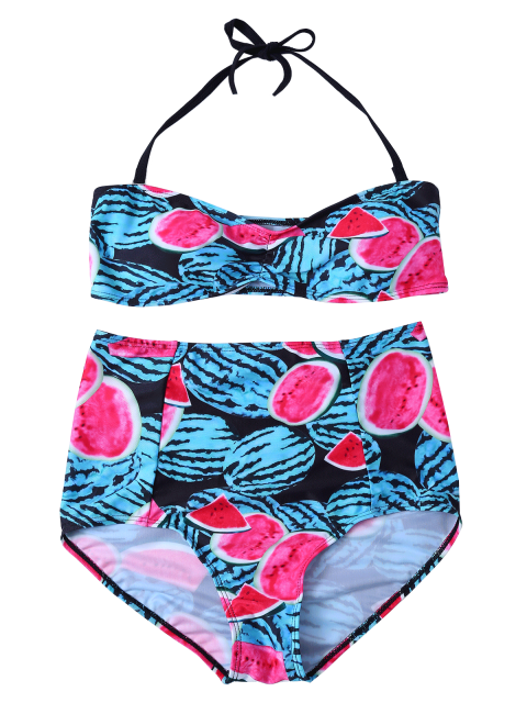 fashion Watermelon Print High Rise Bikini - RED AND GREEN L Mobile