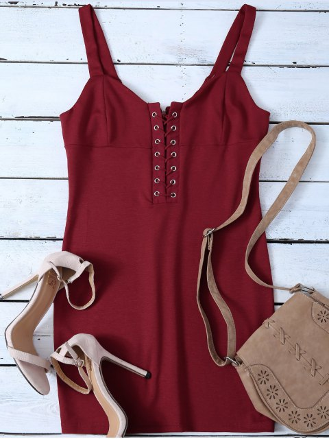 shops Straps Lace Up Bodycon Mini Dress - RED S Mobile