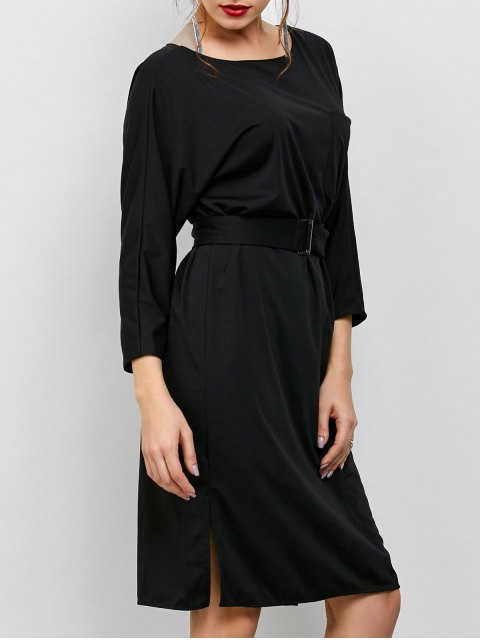 women's Belted Slit Long Sleeve A-Line Dress - BLACK ONE SIZE Mobile