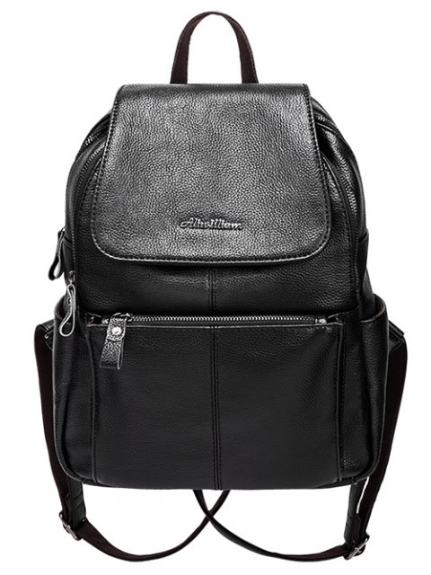 shop Faux Leather Zippers Pockets Backpack - BLACK  Mobile