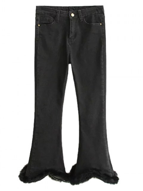 trendy Ninth Fuzzy Flare Jeans - BLACK XL Mobile