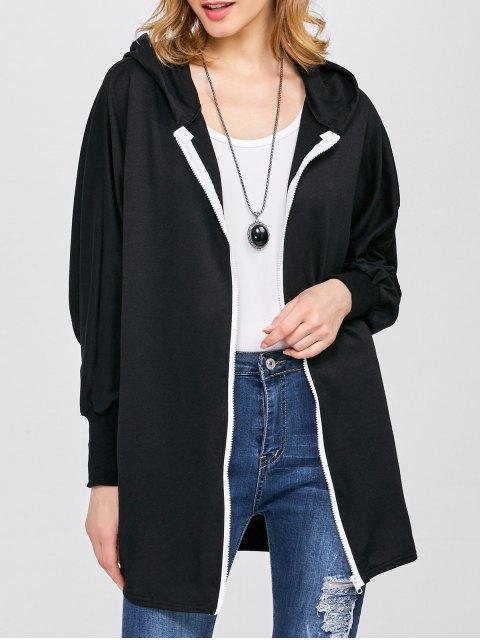 buy Batwing Sleeve Hooded Coat - BLACK S Mobile