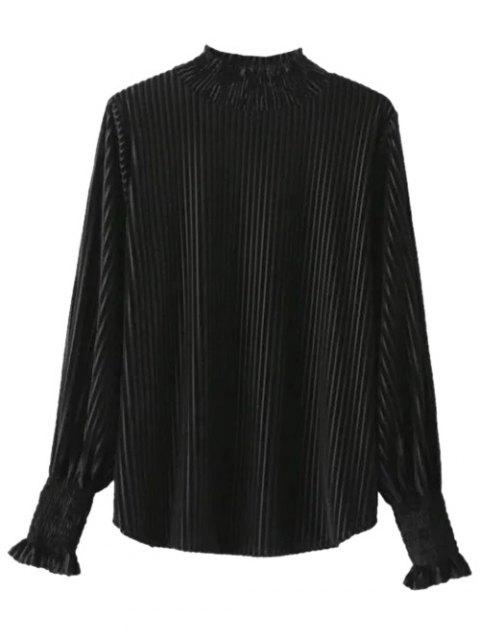 online Ruffles Corduroy Blouse - BLACK ONE SIZE Mobile