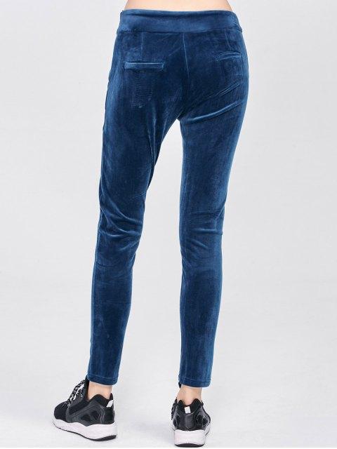 unique Velour Pants with Pockets - BLUE M Mobile