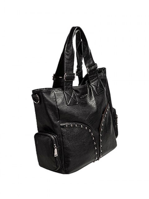 latest Studded Faux Leather Double Pocket Tote Bag - BLACK  Mobile