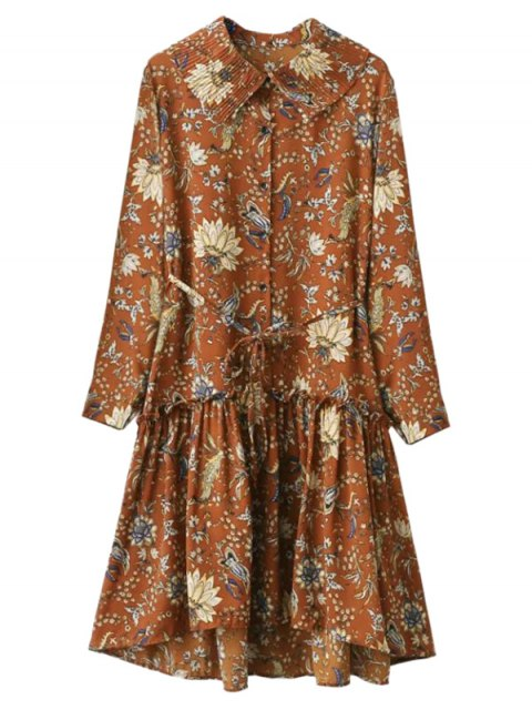 trendy Ruffle Floral Vintage Dress - GINGER ONE SIZE Mobile