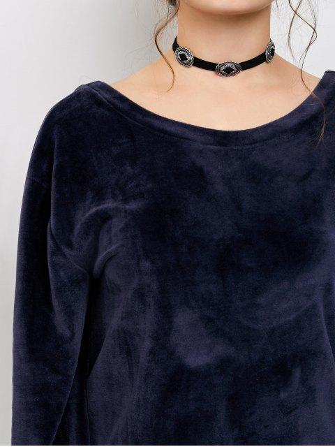 trendy Oversized Velvet T-Shirt - BLUE ONE SIZE Mobile