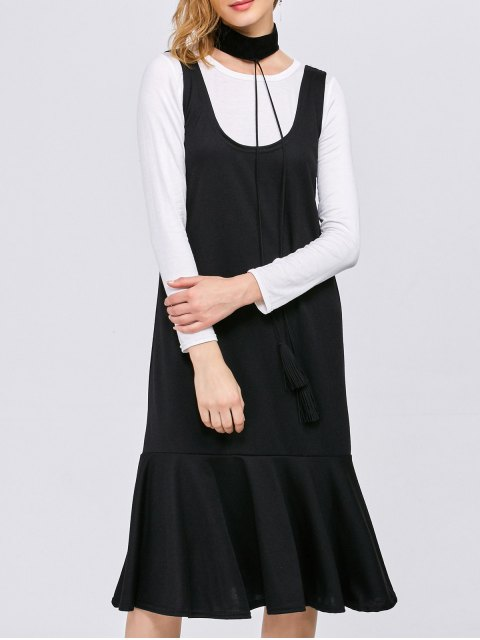 outfits Long Sleeve T-Shirt with Tank Dress - WHITE AND BLACK L Mobile