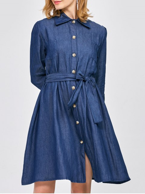 hot Belted Jean Shirt Dress - BLUE M Mobile