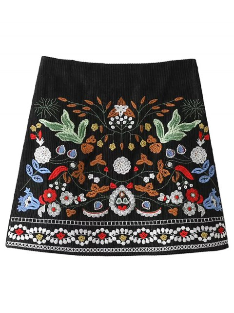 trendy Corduroy Embroidered A-Line Skirt - BLACK M Mobile