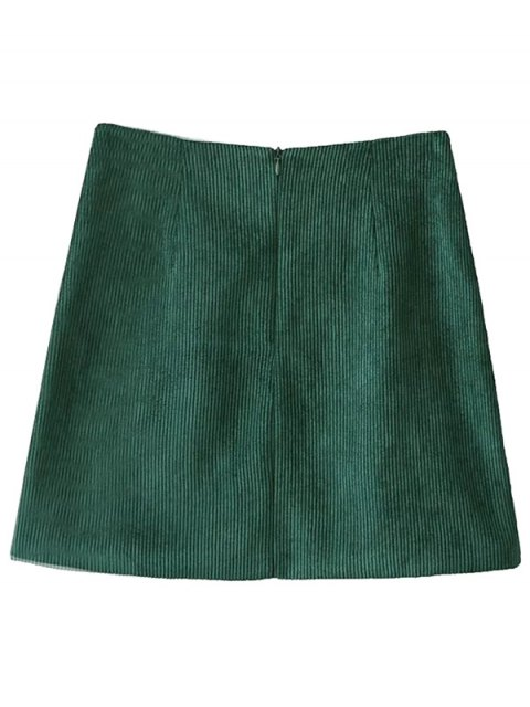 chic Corduroy Embroidered A-Line Skirt - GREEN L Mobile