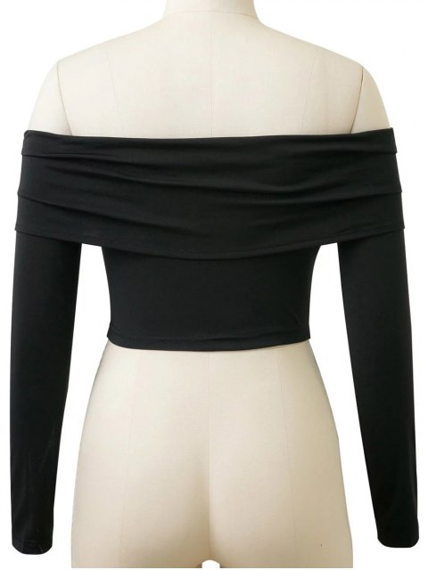 outfits Long Sleeved Off The Shoulder Top - BLACK M Mobile