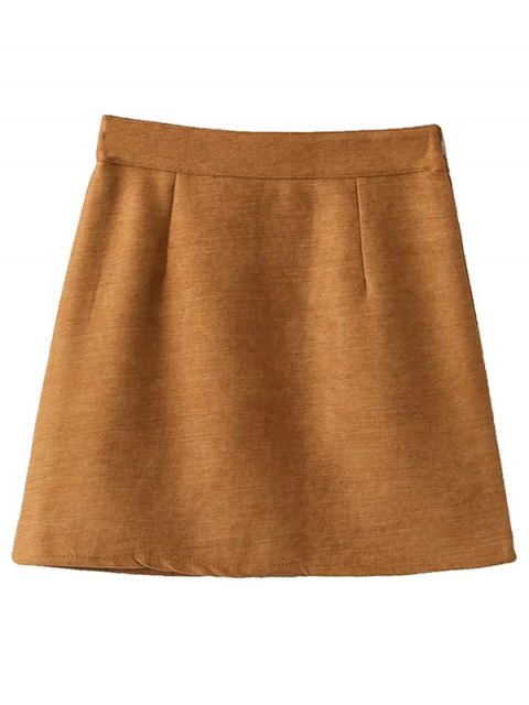 womens Embroidered Corduroy Skirt - KHAKI L Mobile