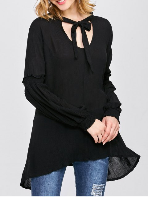 unique Balloon Sleeve Loose Top - BLACK S Mobile