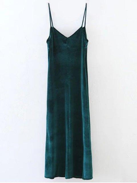 womens Casual Velvet Maxi Slip Dress - GREEN S Mobile