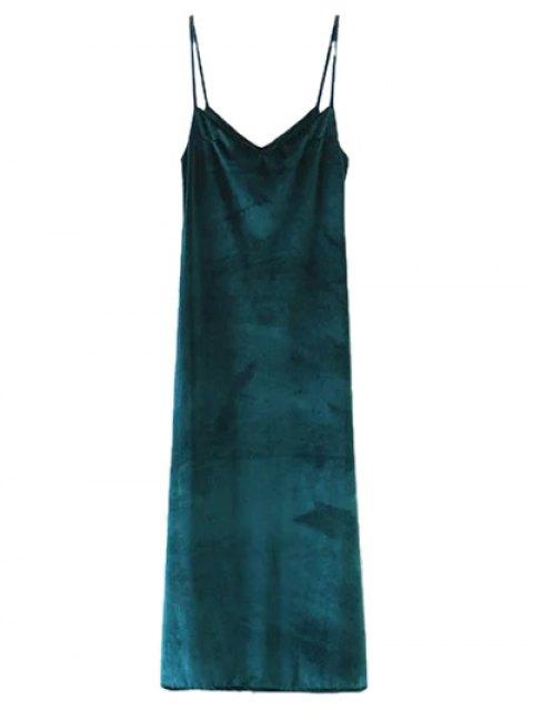 buy Casual Velvet Maxi Slip Dress - GREEN M Mobile