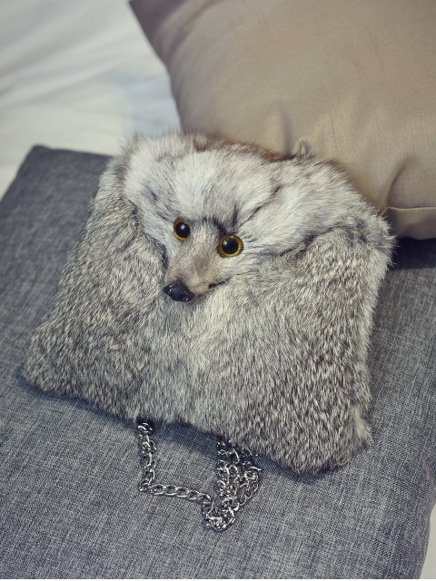 fancy Fox Faux Fur Crossbody Bag - GRAY  Mobile