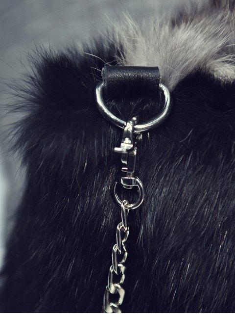 unique Fox Faux Fur Crossbody Bag - BLACK  Mobile