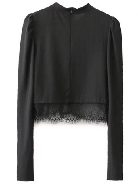 sale Lace Panel Stand Collar Cropped Top - BLACK S Mobile