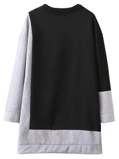 fancy Two Tone Oversized Sweatshirt Dress - BLACK AND GREY M Mobile