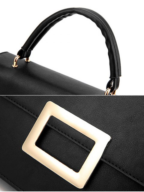 affordable Metal Embellished Faux Leather Handbag - BLACK  Mobile