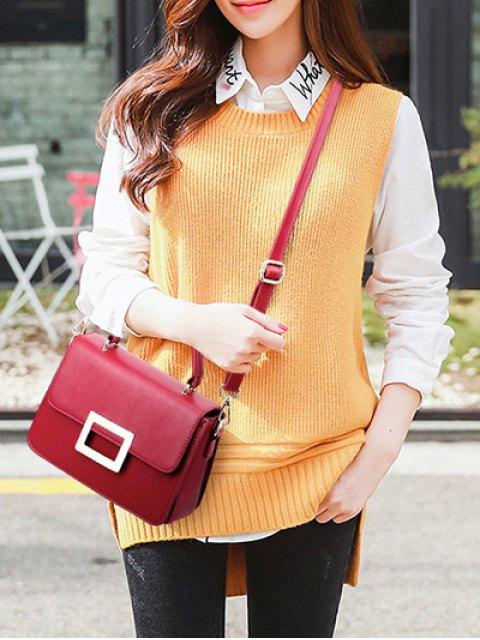 women Metal Embellished Faux Leather Handbag - WINE RED  Mobile