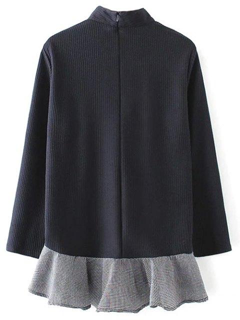 buy Frill Hem High Collar Blouse - PURPLISH BLUE L Mobile